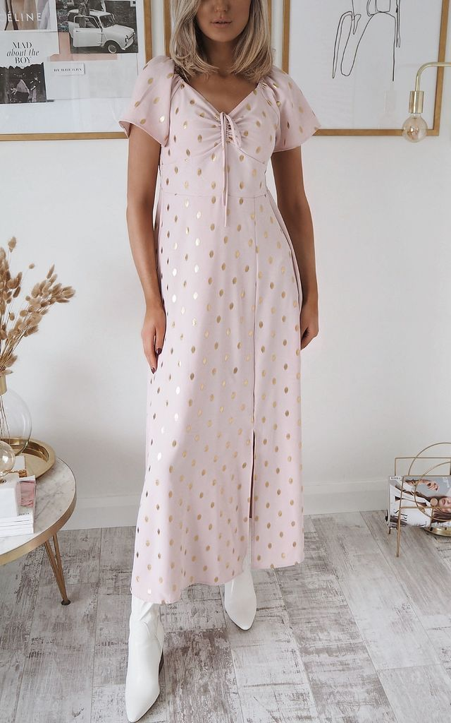 Siena Off-the-Shoulder Pink Midi Dress by Baloot