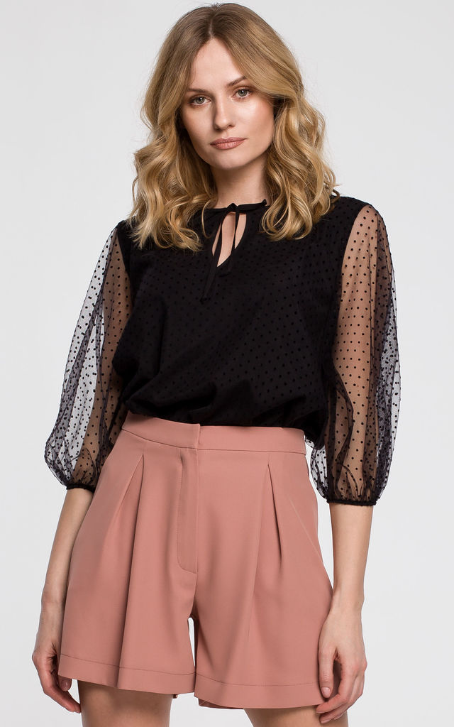 Flocked Polka Dot Blouse in Black by Dursi
