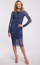 Mesh Dress with Ruched Sides in Blue Floral Print by Dursi