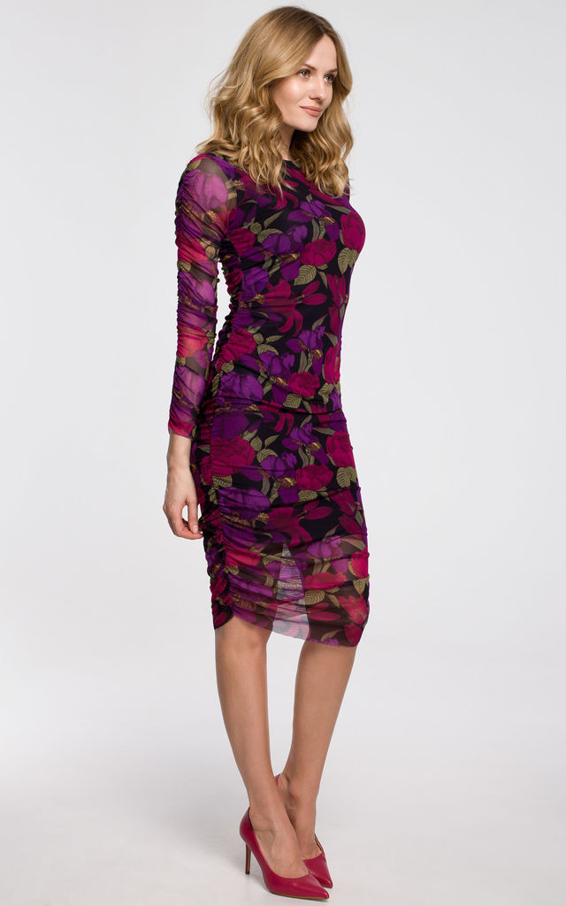 Mesh Dress with Ruched Sides in Violet Floral Print by Dursi