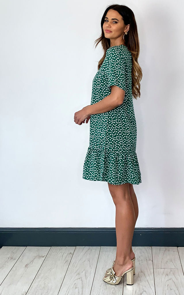 Green Floral Frill Hem T-Shirt Dress by AX Paris
