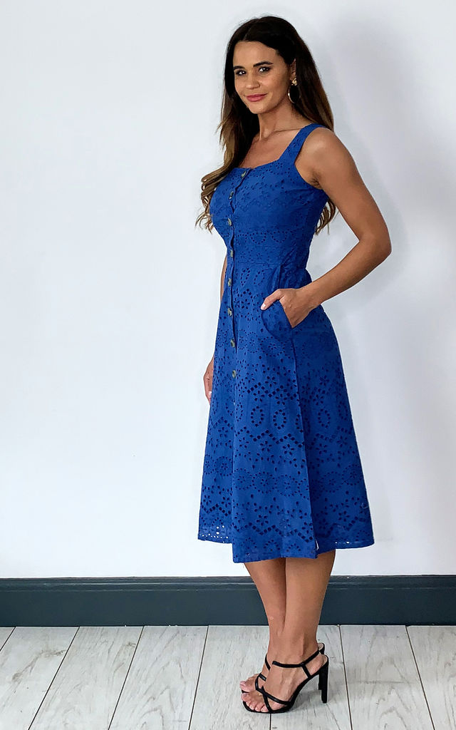 Blue Broderie Lace Summer Dress by Yumi