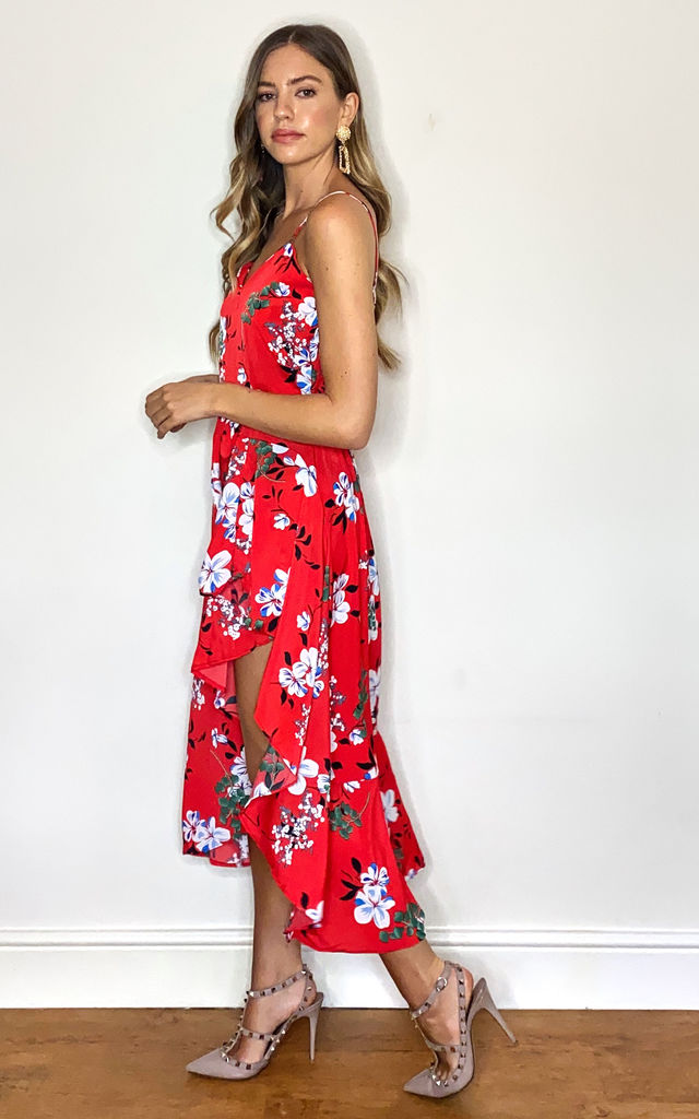 High Low Summer Dress in Floral red by Twist and Turn