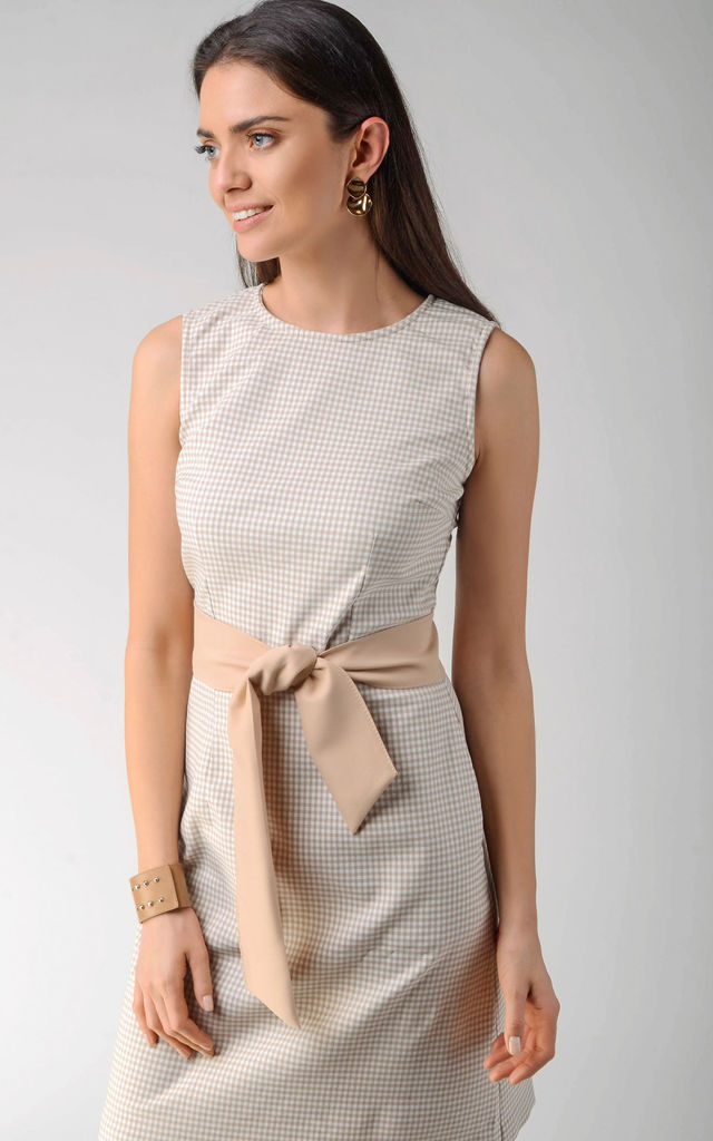 Mini Pencil Dress Tied at Waist in Beige Check Pattern by Bergamo
