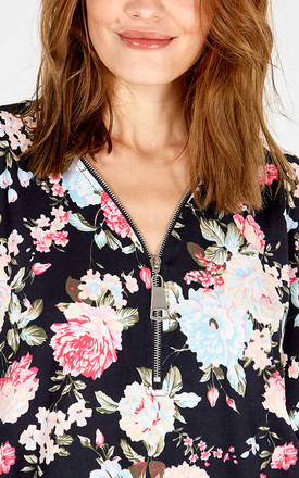CLARA - Floral Print Soft Touch Zip Front Top by Blue Vanilla