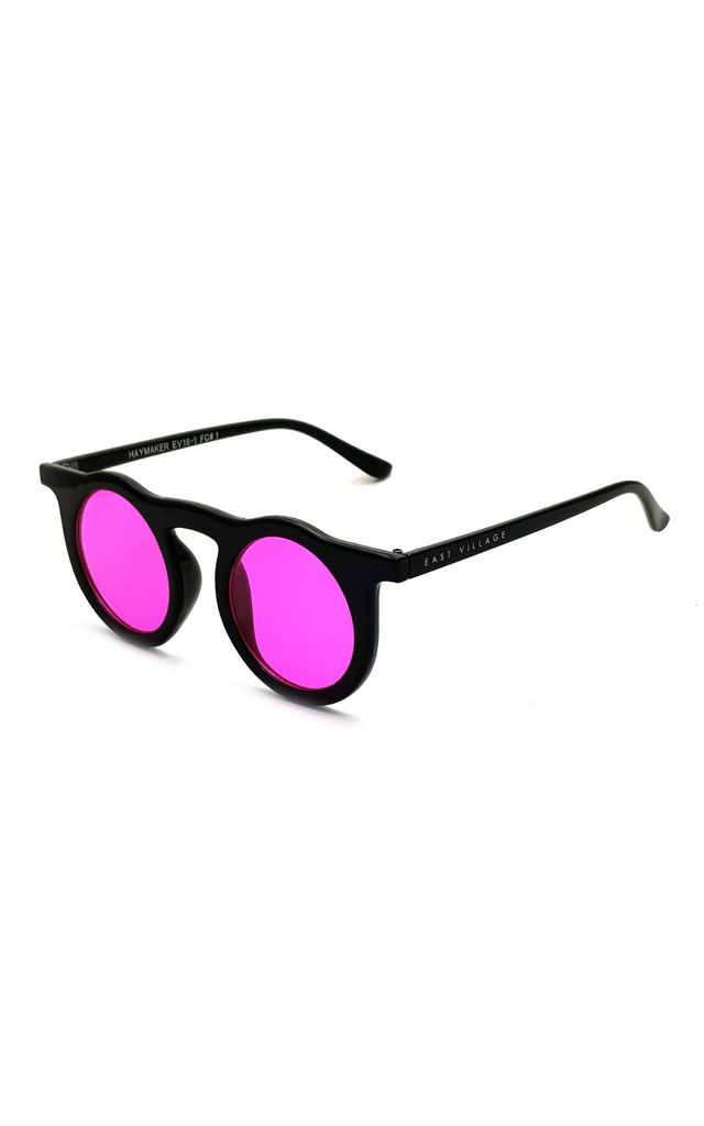 EAST VILLAGE 'HAYMAKER' ROUND SUNGLASSES black with pink lens by East Village