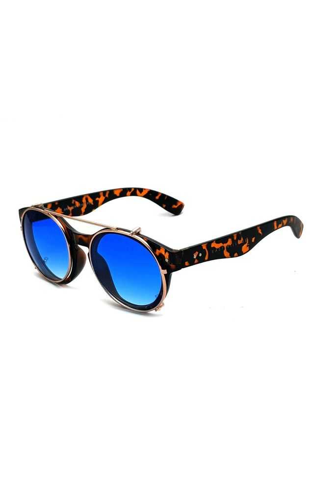 EAST VILLAGE 'BRAWLER' ROUND SUNGLASSES tortoiseshell and metal with blue lens by East Village