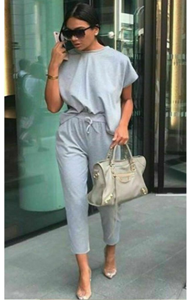 Grey Round Neck Loungewear Tracksuit Co ord | Top & Joggers by GIGILAND UK