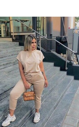 Camel Round Neck Loungewear Tracksuit Co ord | Top & Joggers by GIGILAND