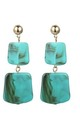 Turquoise Square Stone Drop Earrings by Always Chic
