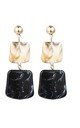 Black Gold Marble Square Stone Drop Earrings by Always Chic