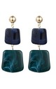 Blue Green Square Stone Drop Earrings by Always Chic