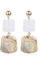 White Gold Marble Square Stone Drop Earrings by Always Chic