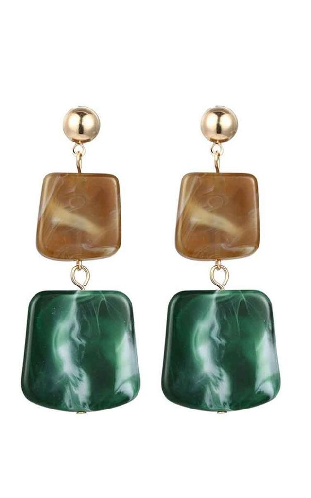 Green Beige Square Stone Drop Earrings by Always Chic