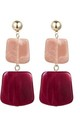Red Pink Square Stone Drop Earrings by Always Chic
