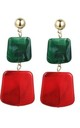 Red Green Square Stone Drop Earrings by Always Chic