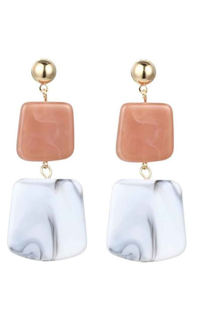 Pink White Square Stone Drop Earrings by Always Chic