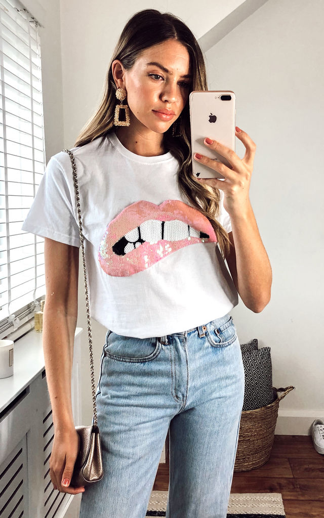 White T-shirt with Baby Pink Lips by Fearless Alice Custom