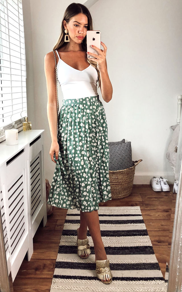 Pleated Midi Sage Green Skirt by Gini London