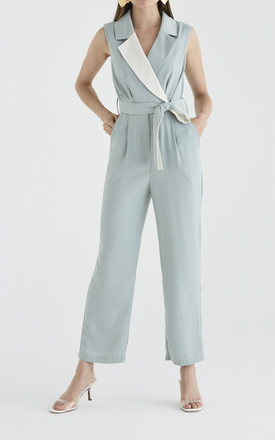 Olympus Tuxedo Jumpsuit in Light Teal and Cream by Paisie