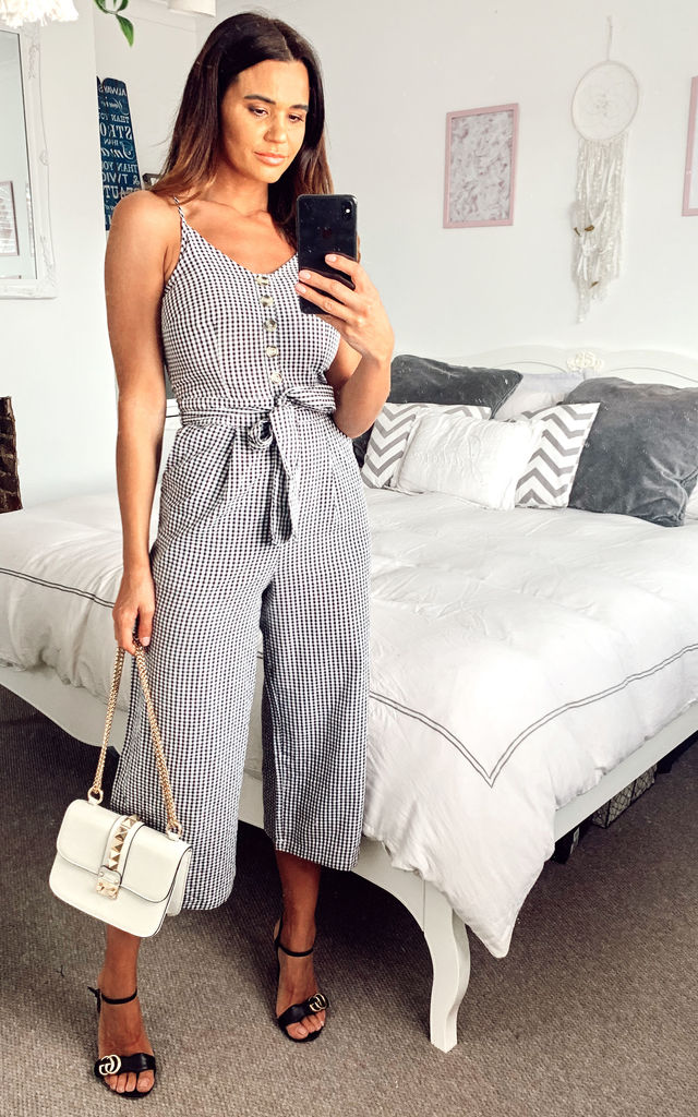 Black Gingham Button Jumpsuit by Yumi