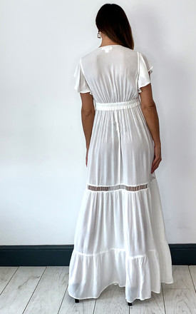 All You Need Is Love Maxi Dress With Embroidered Mesh Detail In Ivory by Band Of Gypsies
