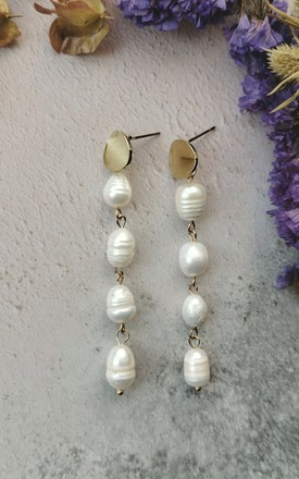 Gold Tone Disc and Mother of Pearl Stone Dropper Earrings by Emi Jewellery