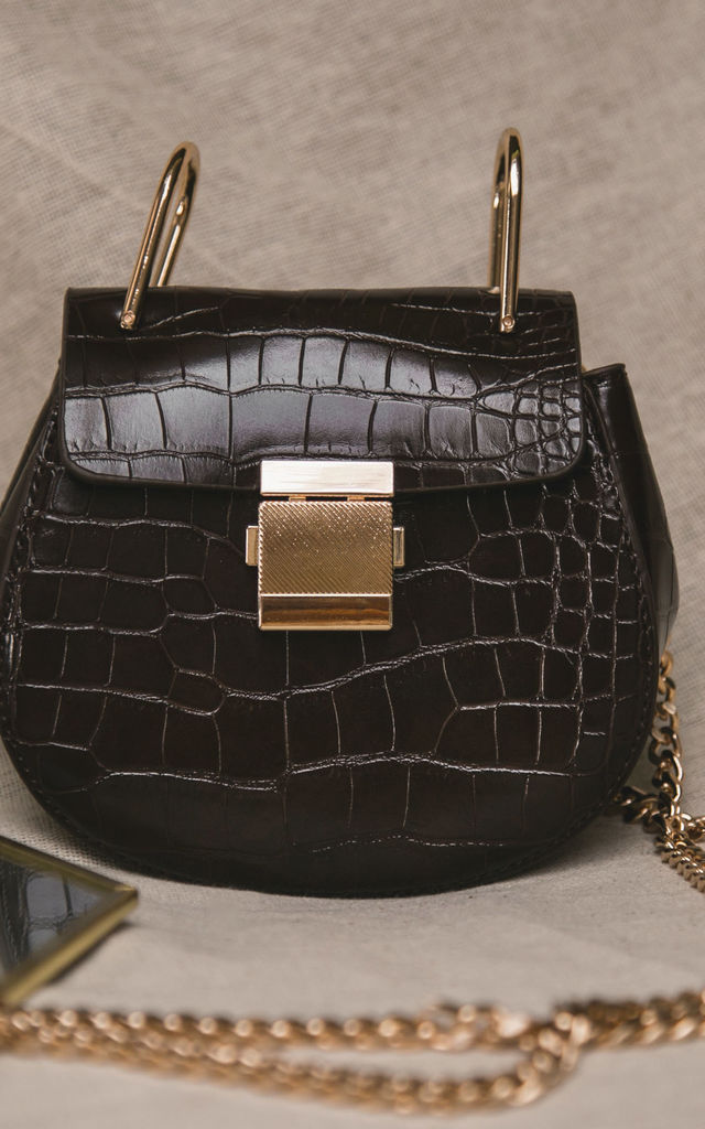 Zoe Half Moon Croc Bag - Chocolate by Luna Charles