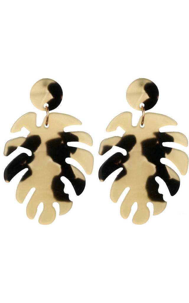 Beige Tortoiseshell Acrylic Leaf Drop Earrings by Always Chic