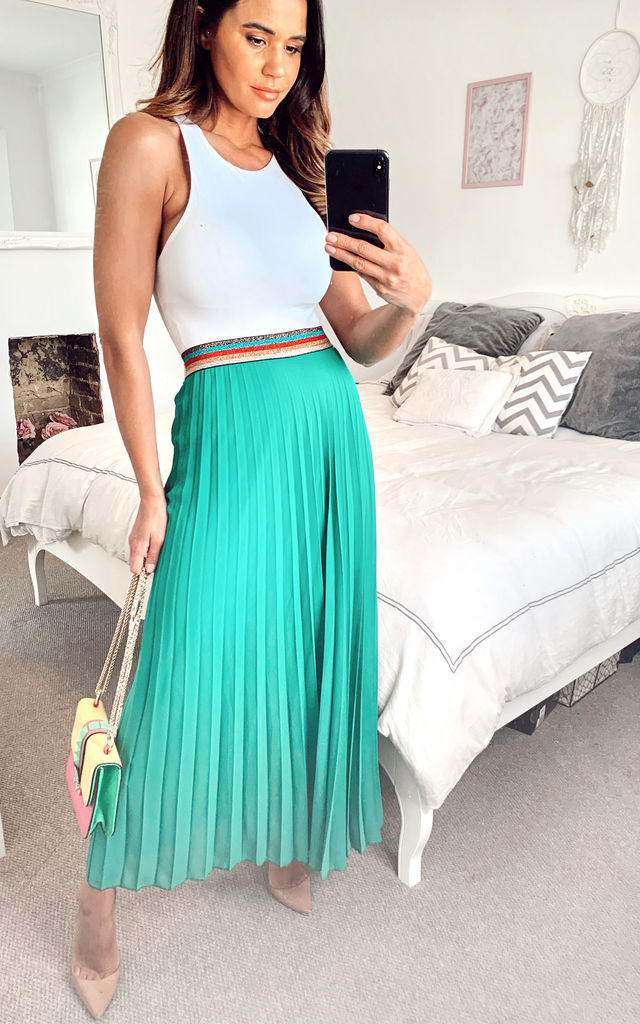 Green Pleated Maxi Skirt with Elasticated Waistband by KURT MULLER