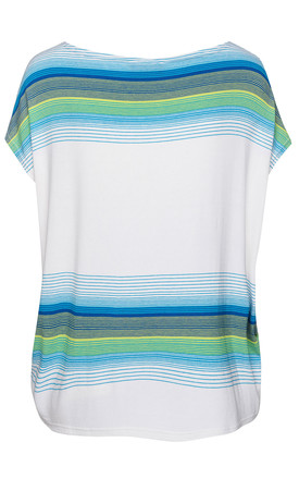 White Sleeveless Top with Striped Print by Conquista Fashion