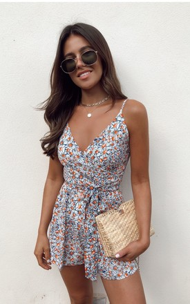 Fia Tie Waist Cami Strap Wrap Front Playsuit Daisy Print by Girl In Mind