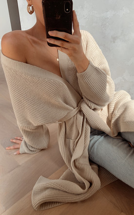 Arden Midi Tie Cardigan - Light Beige by Pretty Lavish