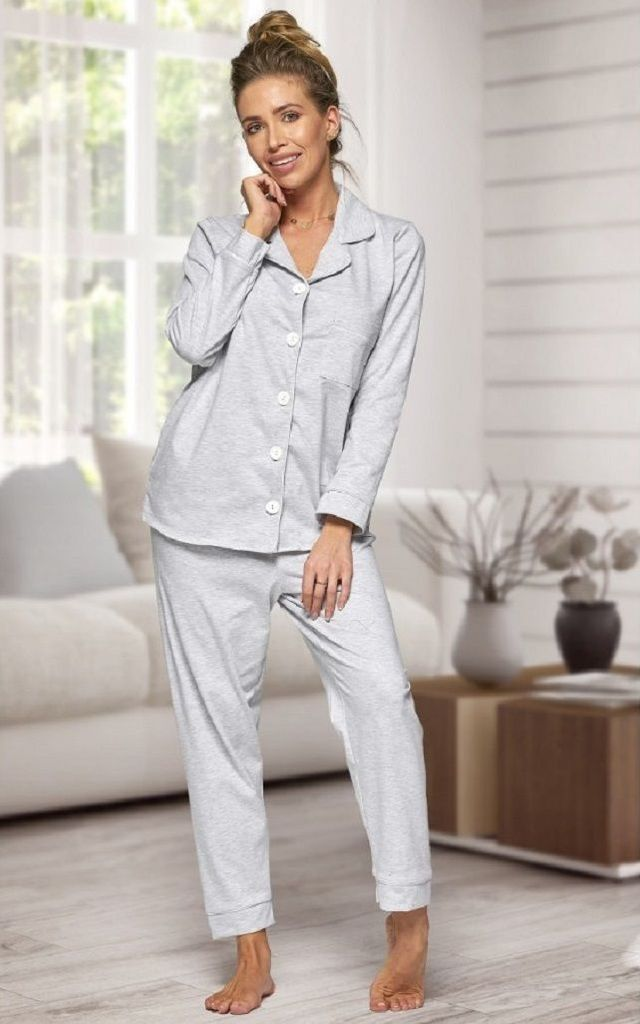 Grey Long Sleeve Pjs by BB Lingerie