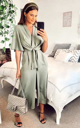 Exclusive Kimono Knot Top Culotte Jumpsuit In Khaki Green by Bella and Blue