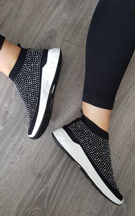 Kay Diamante Embellished Sock Trainers in Black by IKRUSH