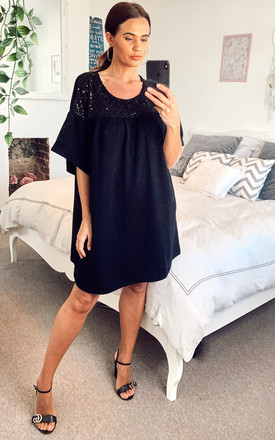 Tunic Dress With Sequin Detail In Black by Bella and Blue Product photo