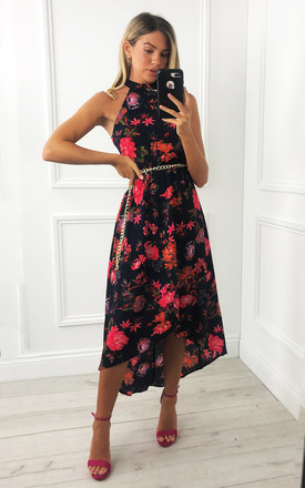 Navy Floral Cut in Neck Wrap Dress by AX Paris