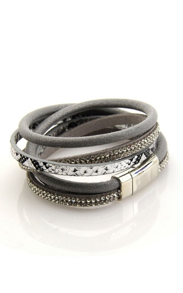 Grey Snake Skin Rhinestone Multi Layer Bracelet by GIGILAND