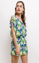 Floral Playsuit With Open Shoulder Detail In Blue by Lilura London