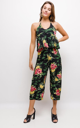 Floral Halterneck Jumpsuit With Layered Top In Black by Lilura London
