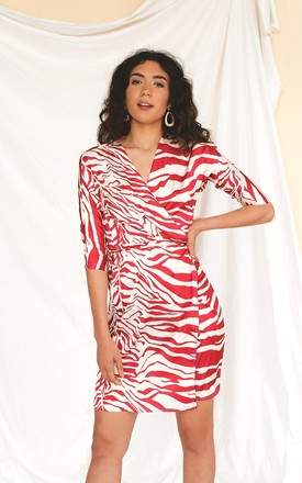 Red Zebra Wrap Dress by HAUS OF DECK
