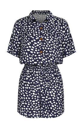 Button Down Playsuit In Navy Spot Print by FS Collection