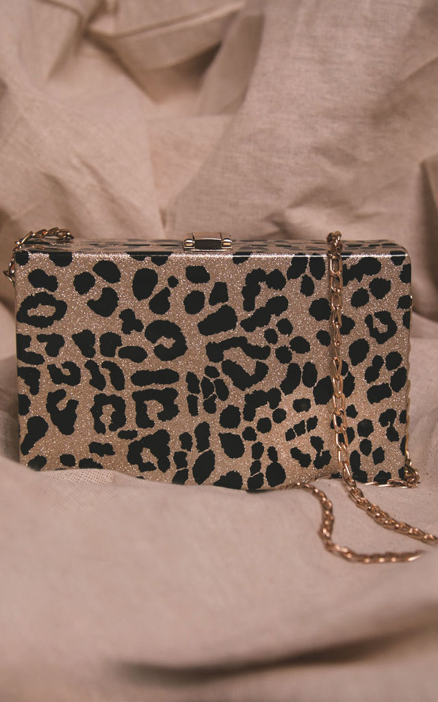 Ngozi Leopard Sparkle Box Bag by Luna Charles