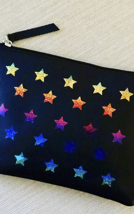 Rainbow Multi Star Leather Clutch Bag by hydestyle london