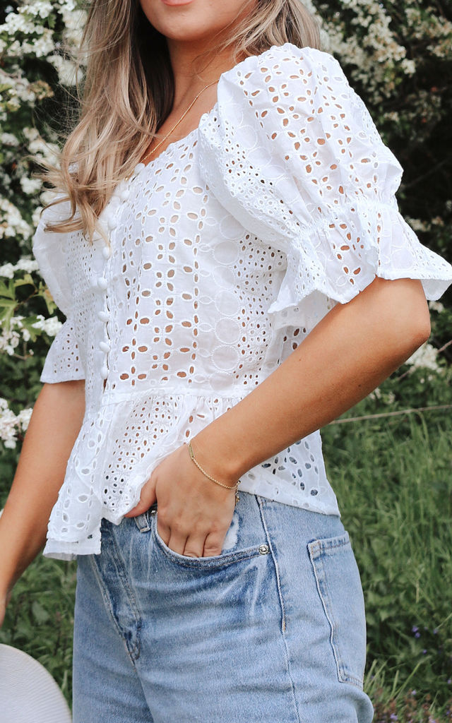 Broderie Anglaise Button Down Puff Sleeve Top by Styled In London