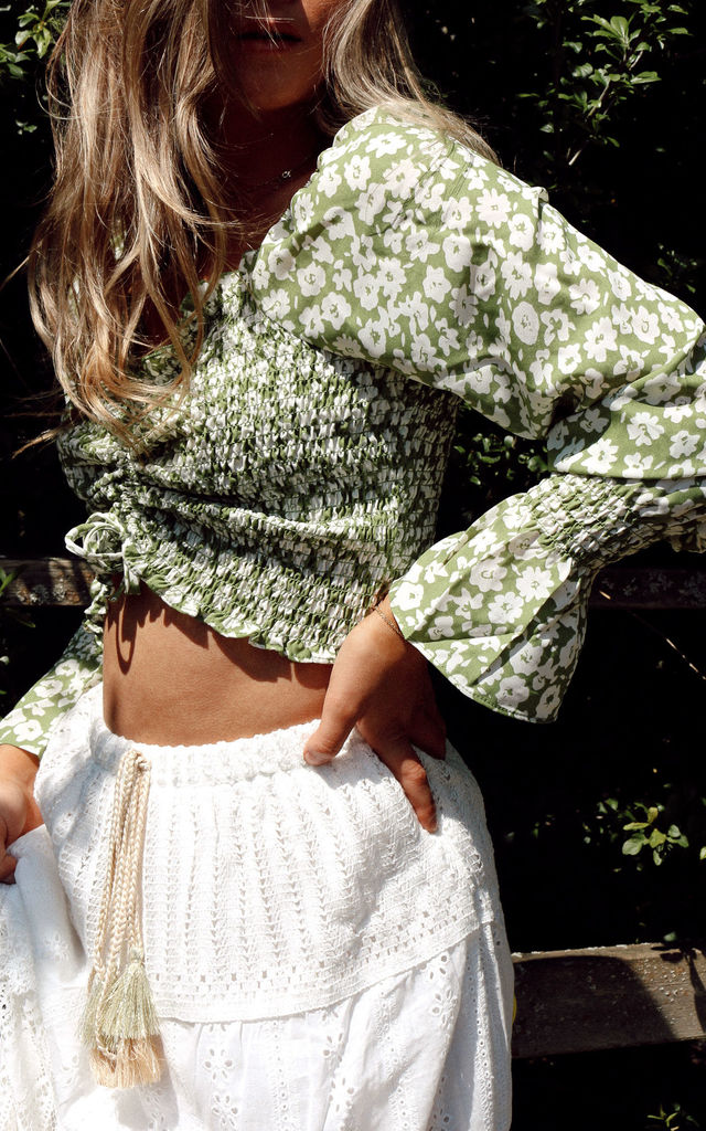 Pastel Green Ditsy Floral Shirred Long Sleeve Crop Top by Styled In London