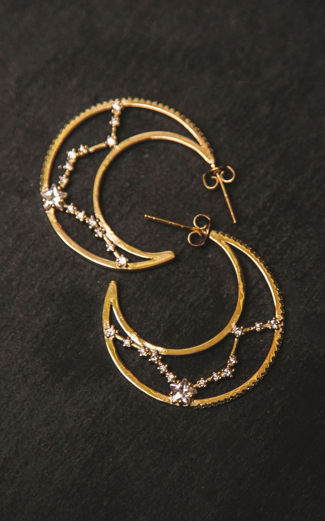 Phoebe Constellation Moon Hoop Earrings by Luna Charles
