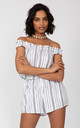 Off Shoulder Bardot Playsuit in White Stripes by likemary