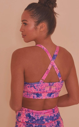 Pink Neon Marble Twist Front Sports Bra by Wolf & Whistle
